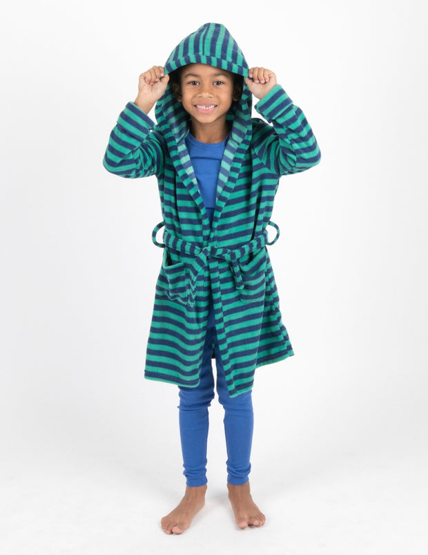 Kids Fleece Stripes Hooded Robe