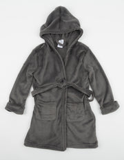 Kids Fleece Hooded Neutral Color Bathrobe