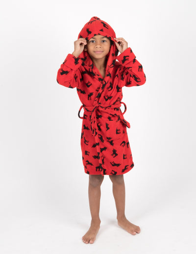 Kids Fleece Hooded Moose Robe