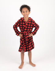 Fleece Plaid Hooded Robes