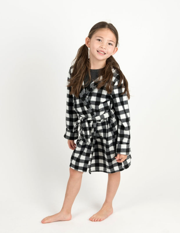 Kids Black & White Plaid Fleece Hooded Robe