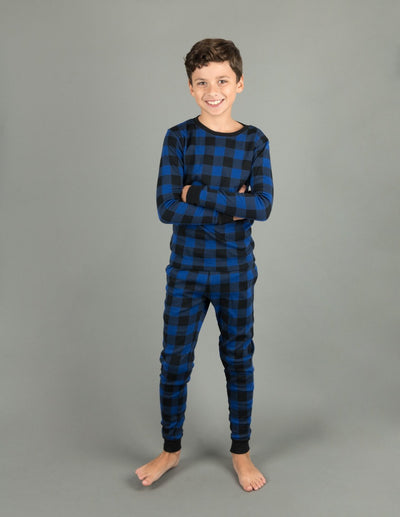 Kids Black & Navy Plaid Pajamas