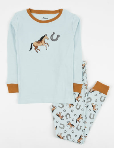 Kids Light Blue Horse Pajamas