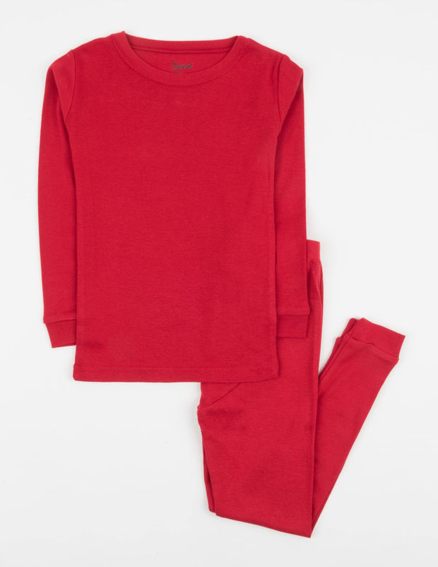 Kids Two Piece Solid Red Pajamas