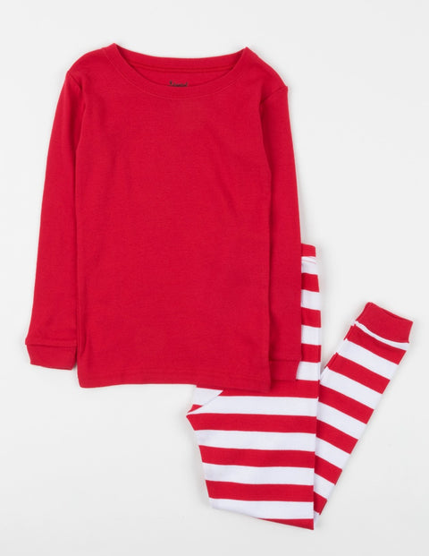 Kids Red Top & White Stripes Pajamas