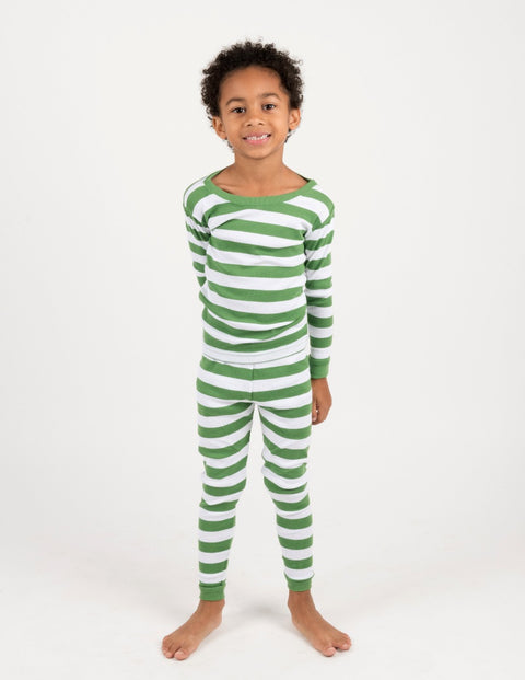 Kids Green & White Stripes Pajamas