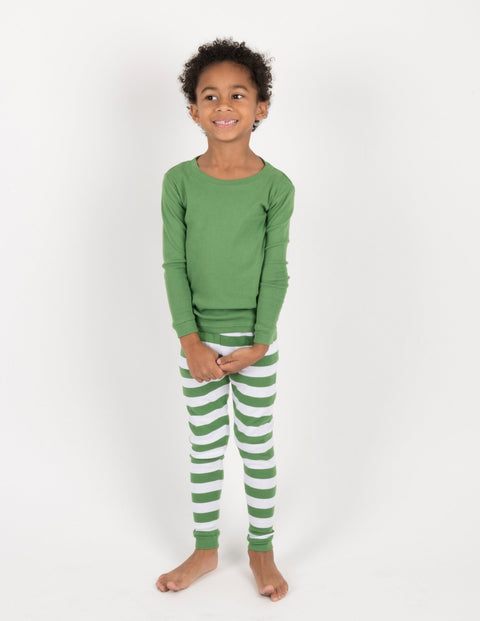 Green & White Striped Cotton Pajamas