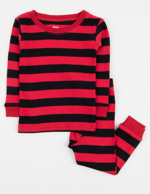 Kids Cotton Red & Black Stripes Pajamas