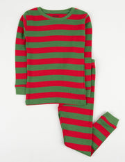 Kids Clearance Cotton Red & Green Stripes Pajamas