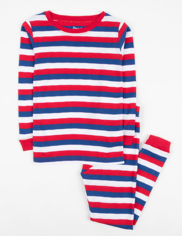 Kids Two Piece Cotton Red White & Blue Striped Pajamas