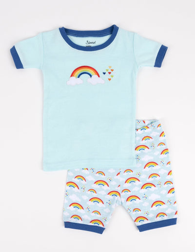 Kids Short Cotton Blue Rainbow