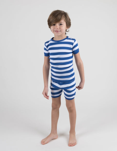 Kids Blue & White Stripes Short Pajamas