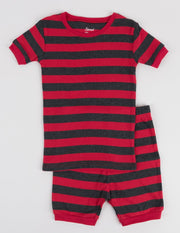 Short Sleeve Striped Cotton Pajamas
