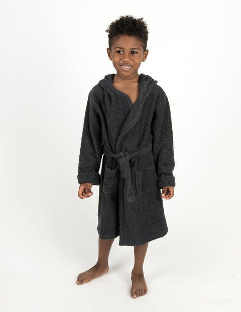 Cotton Terrycloth Hooded Bathrobe Neutrals