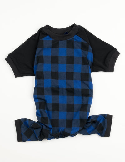Dog Black & Navy Plaid Pajamas