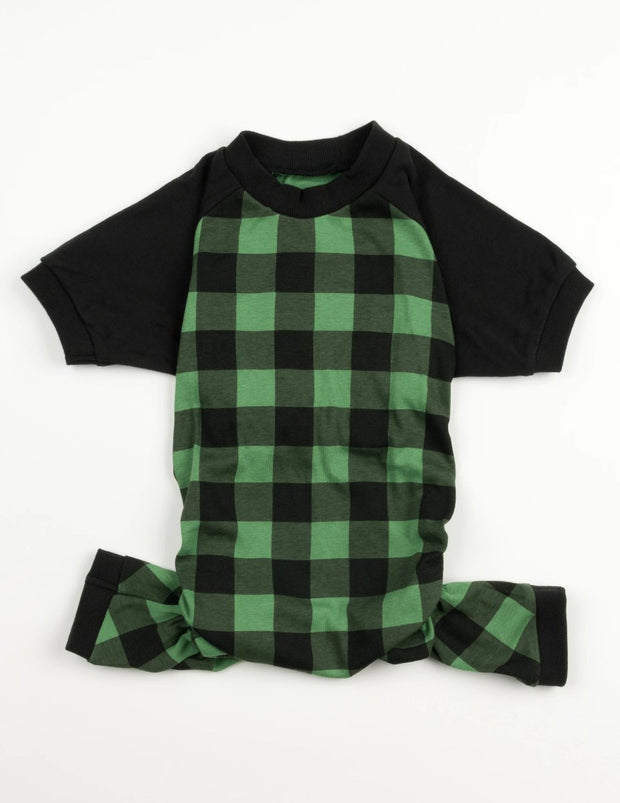 Dog Black & Green Plaid Cotton Pajamas