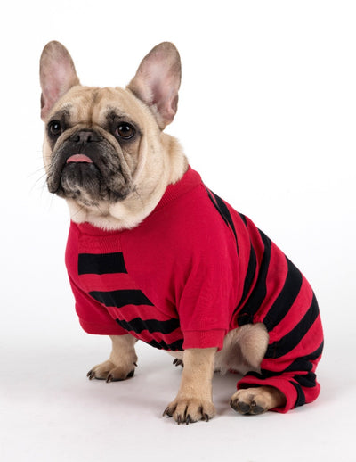 Dog Clearance Red & Black Stripes Cotton Pajamas