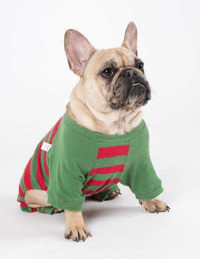 Dog Cotton Red & Green Stripes Pajamas
