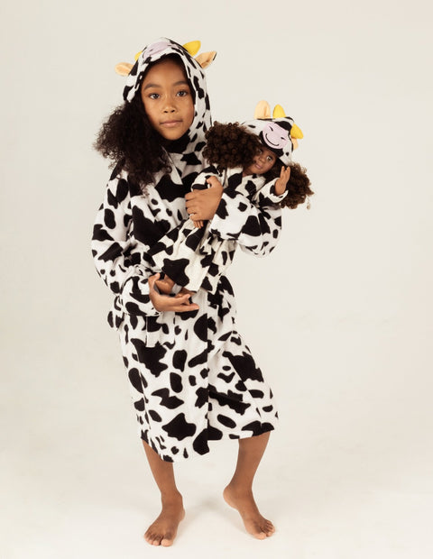 Girl and Doll Fleece Hooded Cow Robe