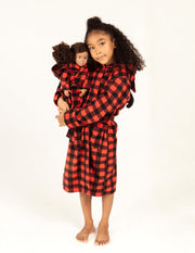 Girl and Doll Fleece Hooded Moose Robe