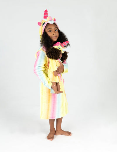 Girl and Doll Fleece Hooded Robes