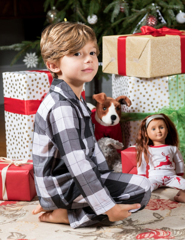 Kids Black & White Plaid Flannel Pajamas