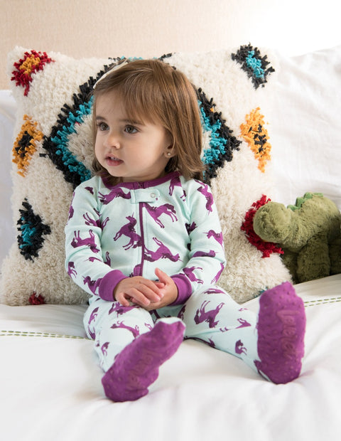 Kids Footed Purple Unicorn Cotton Pajamas