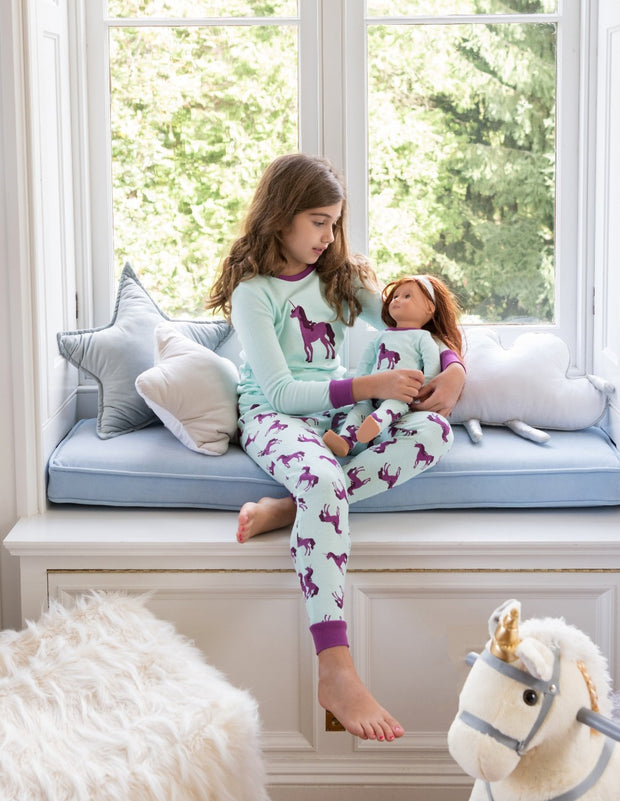 Matching Girl & Doll Unicorn Cotton Pajamas