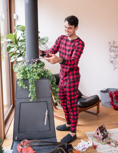 Mens Cotton Red & Black Plaid Pajama Set