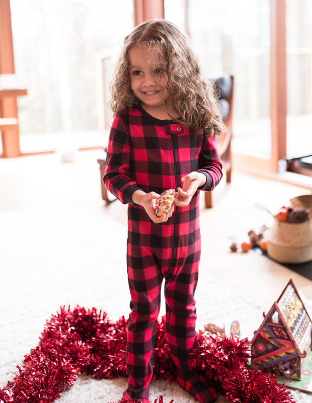 Kids Footed Red & Black Plaid Cotton Pajamas