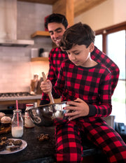 Kids Cotton Red & Black Plaid Pajamas Set