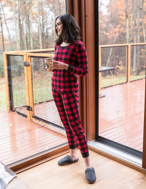 Womens Cotton Red & Black Plaid Pajama Set