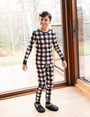 Kids Black & White Plaid Cotton Pajamas