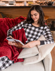 Womens Black & White Plaid Cotton Pajamas