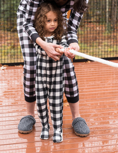 Kids Footed Fleece Black & White Plaid Fleece Pajamas