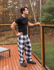 Mens Black & White Plaid Flannel Pants