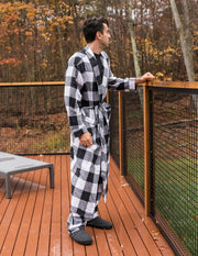 Mens Black & White Plaid Flannel Robe