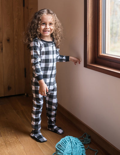 Kids Footed Black & White Plaid Cotton Pajamas