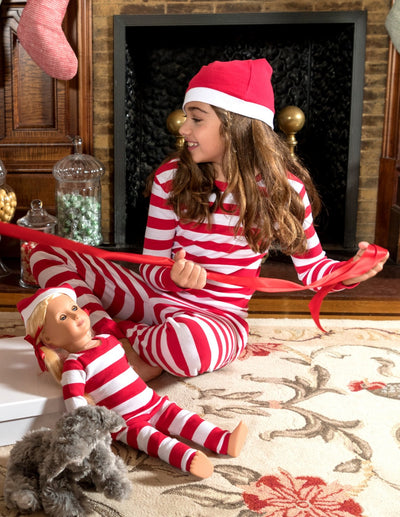 Matching Girl & Doll Red & White Stripes with Hat Pajamas