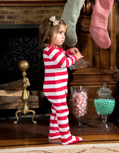 Kids Footed Red & White Stripes Cotton Pajamas