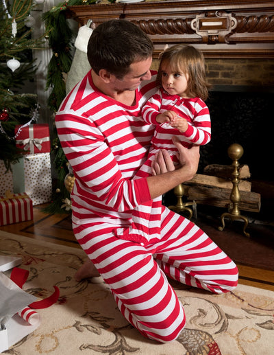 Mens Two Piece Red & White Stripes Cotton Pajamas