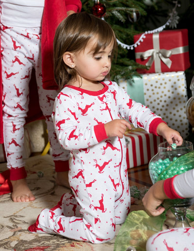 Kids Footed Cotton Red & White Reindeer Pajamas