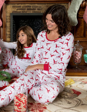 Womens Cotton Red & White Reindeer Pajamas