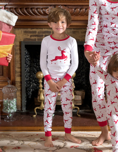 Kids Cotton Red & White Reindeer Pajamas
