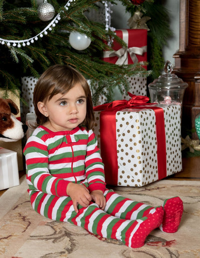 Kids Footed Red White & Green Stripes Cotton Pajamas