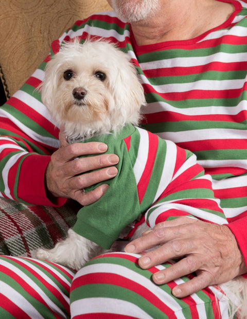 Dog Red White & Green Stripes Cotton Pajamas
