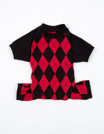 Dog Red & Black Argyle Pajamas