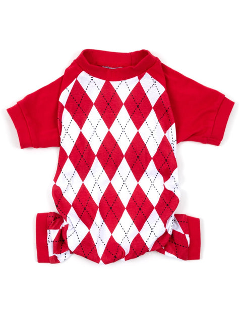 Dog Red & White Argyle Pajamas