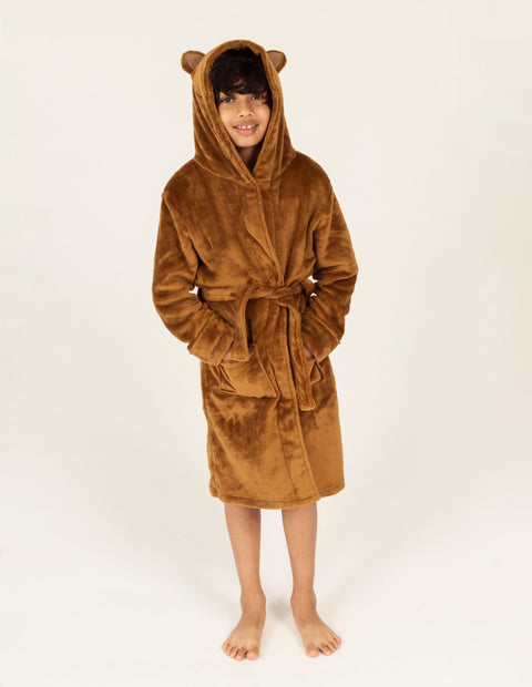 Kids Fleece Hooded Bear Robe