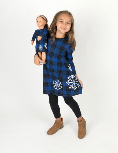 Matching Girl and Doll Cotton Dress Snowflake Plaid